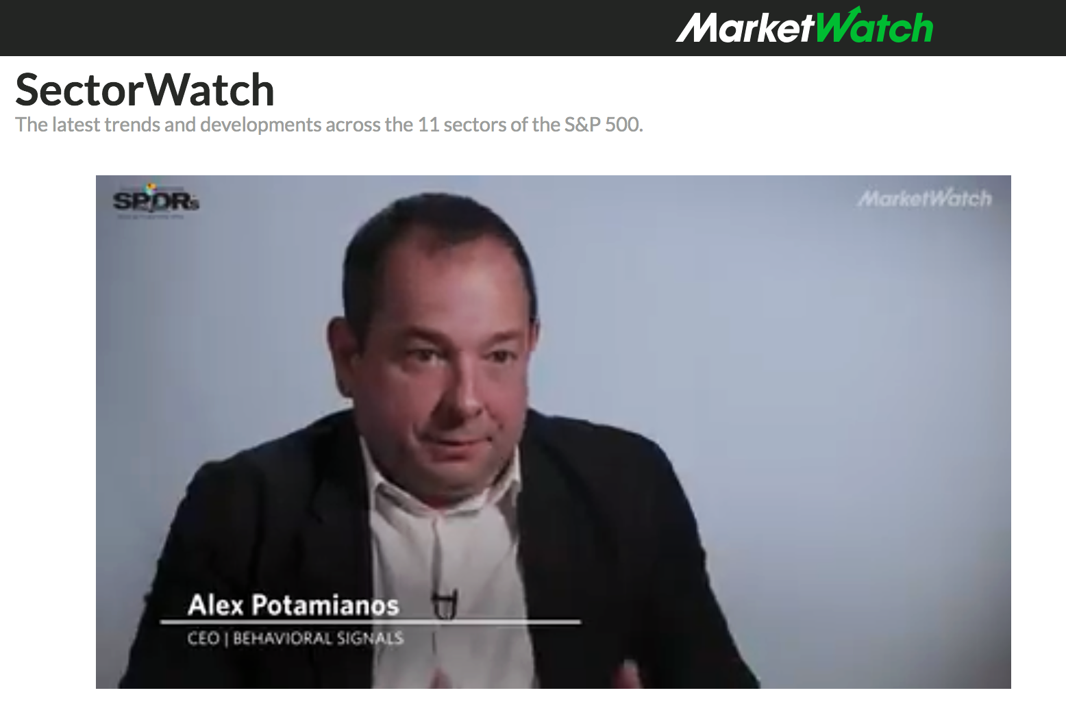 Alex Potamianos interview with MarketWatch