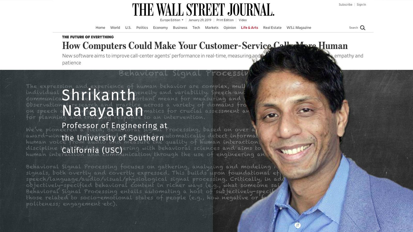 Shri Narayanan, Behavioral Signals, How Computers Could Make Your Customer-Service Calls More Human