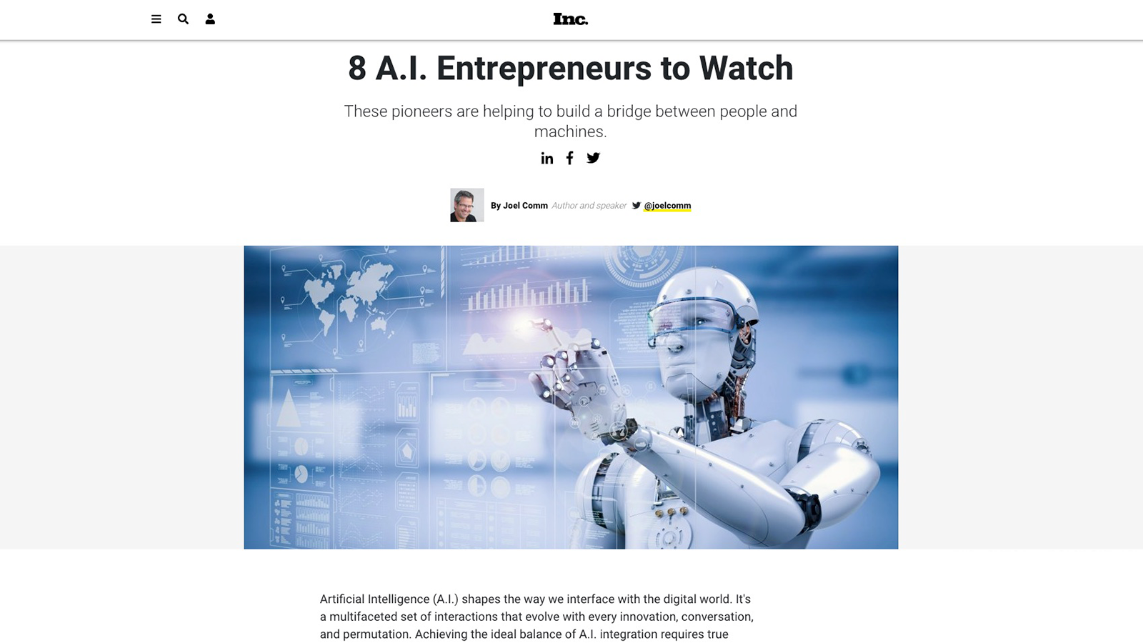 Rana Gujral Behavioral Signals CEO was named one of the 8 AIEntrepreneurs to Watch by Inc